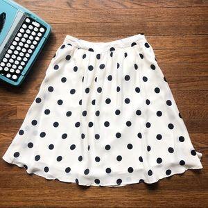 J. Crew Silk Ivory Polka Dot Pleated Skirt NWT